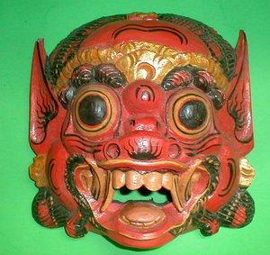 Bali Hindu Raksasa Mask  Gargoyle Demon Hand carved Medium 11 x 11 inch