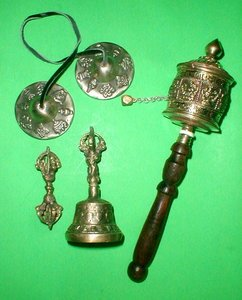 Tibetan Prayer Set includes Prayer Wheel   Tingksa    Bell and Dordje