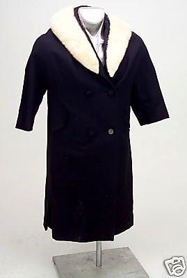 Vintage Ladies Black Wool Coat White Fur Collar 1940s era Original Owners As Is