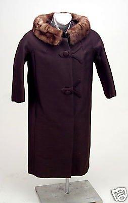Vintage Ladies Wool Brown Coat Brown Fur Collar 1940s Original Owners Excellent