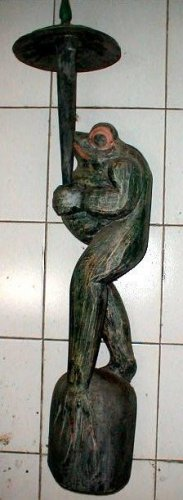 "Bali Frog with Umbrella Statue Hand carved X-Large 39"" antique style"