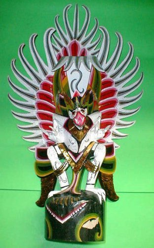 "Garuda handmade wood carving from Bali Indonesia 28"" size White UNIQUE ONLY ONE"