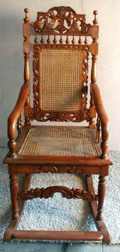 Rocking Chair Handmade Indonesia Hard wood UNIQUE ART Wicker Seat and Back