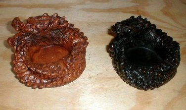 """Dragon Ashtray Resin 5"""" diameter choice of (1) ONE solid Brown or Black"""