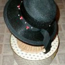Ladies Black Straw Hat Wood beads Chesterfield VINTAGE with BONUS Antique Brooch