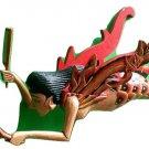 "Dewi Sri Rice Goddess Mermaid Flying Hanging Lady Wood C+M 15"" RED new style"