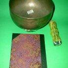 """Tibetan Singing Bowl XL ANTIQUE set hand hammered 8"""" D 25 oz. flag notebook more"""