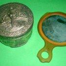 Dusting powder antique vintage Metal Can and vanity hand mirror