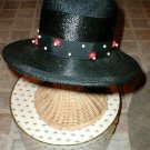 Straw Hat Black with Wood beads Chesterfield VINTAGE with BONUS Antique Brooch
