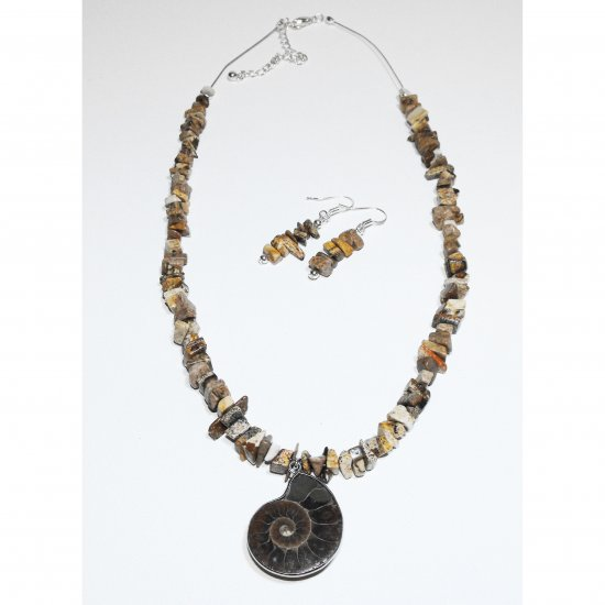 Ammonite Fossil And Desert Jasper Necklace Set