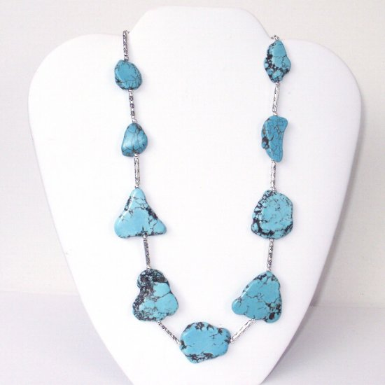 Blue Chunky Slab Turquoise Slice Necklace (2a)