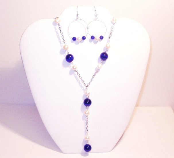Cobalt Blue Cat's Eye and Freshwater Pearl Necklace Set