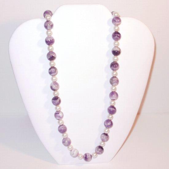 Genuine Amethyst Stone Bead Necklace