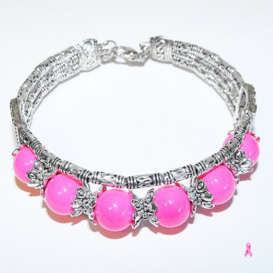 Tibetan Silver Pink Beaded Bracelet