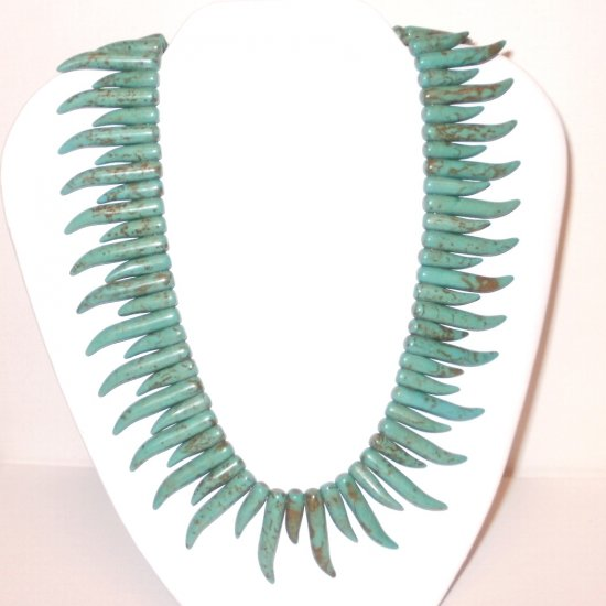 Turquoise Curved Spikes Necklace