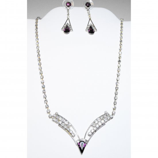 Amethyst and Crystal Necklace Set