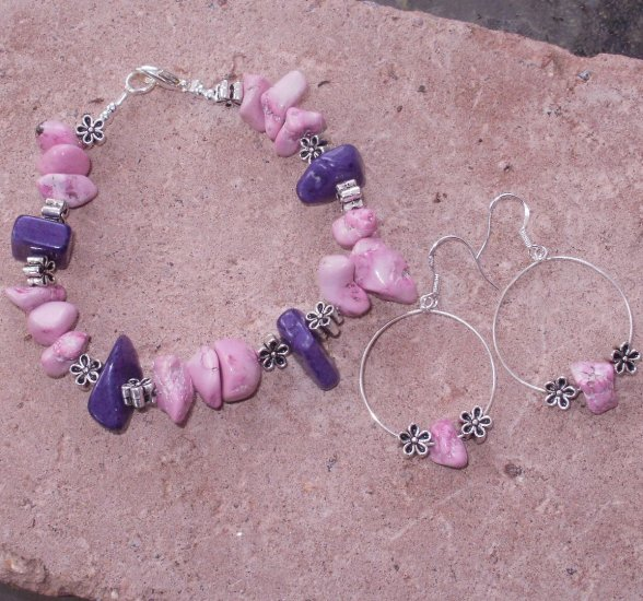 Turquoise Mauve Nugget Bracelet And Earrings Set