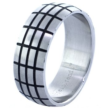 Steel Pattern Etched Ring (sz.9)
