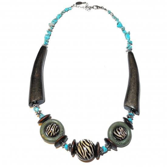 Chunky Turquoise and Wood Necklace