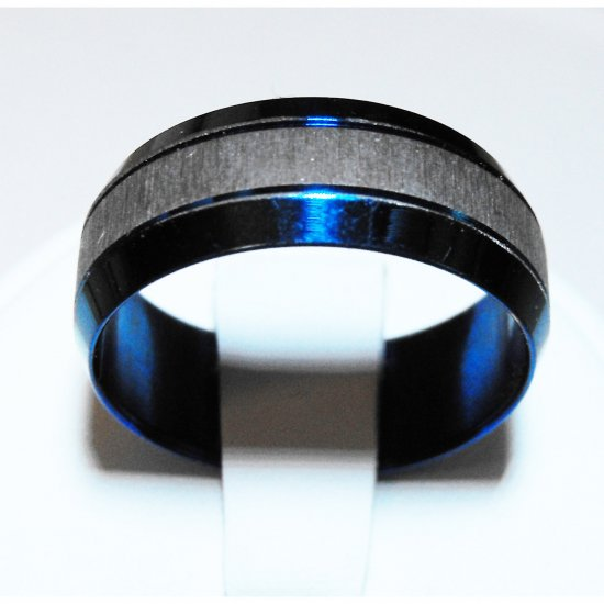 Blue Stainless Steel Ring (sz.9)