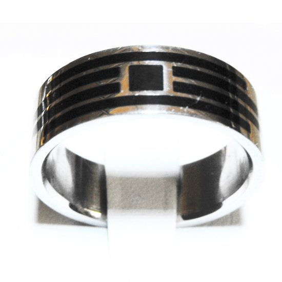Stainless Steel Black Pattern Ring (sz.11.5)