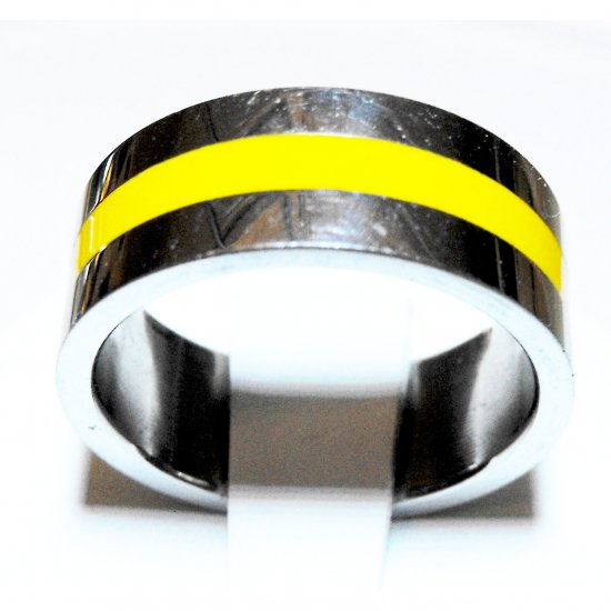 Stainless Steel Ring With Yellow Inlay (sz.9)
