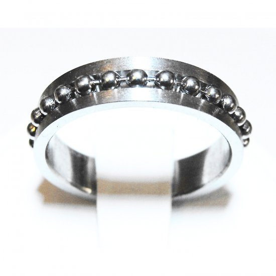 Stainless Steel Single Ball Chain Ring (sz.8)
