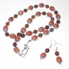 Rare Gem Stone Gold Star and Dragon Vein Agate Necklace Set