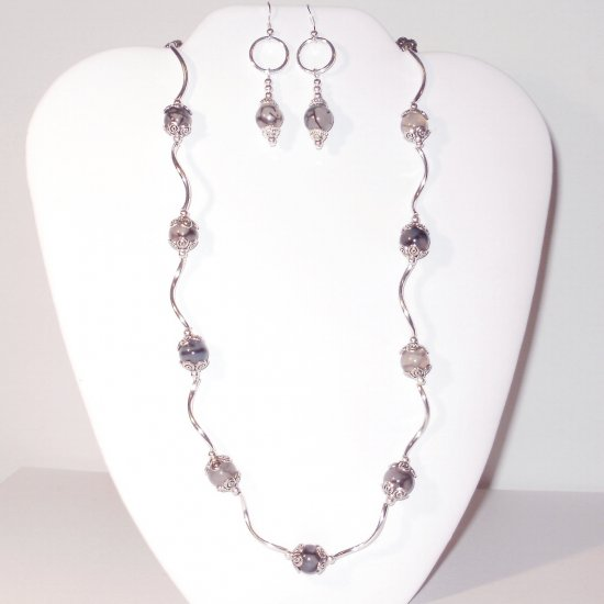 Rare Black Dragon Vein Agate Necklace and Earring Set