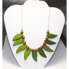 Rare Gem Stone Gold Star And Leaf Necklace