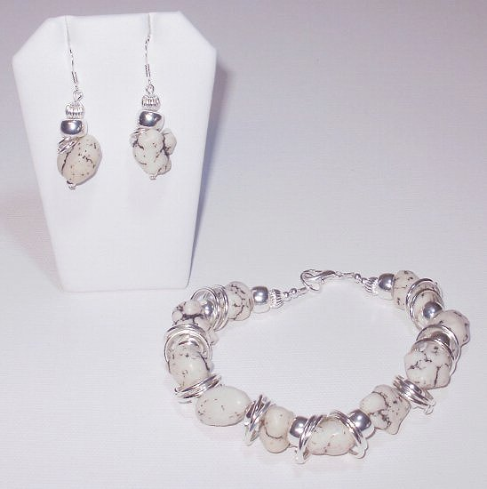 White Turquoise Nugget Bracelet And Earring Set
