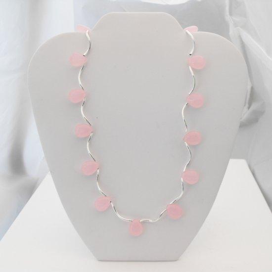 Jade Teardrop Necklace (pink)