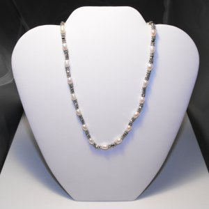 Pearl And Tibetan Silver Necklace With Black Crystals