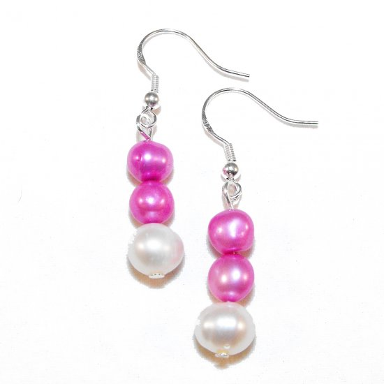 Pink Freshwater Pearl Earrings (f)