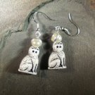 White Cat Earrings Sterling Holy Tabby Saint Cat