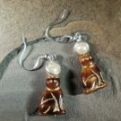 Brown Cat Earrings Sterling Holy Tabby Saint Cat