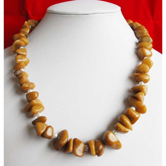 Caramel Jade Nugget Necklace