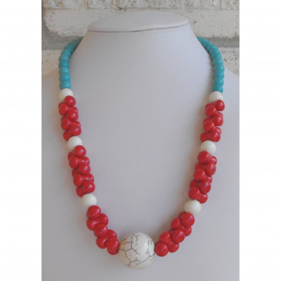 Turquoise Mixed Beaded Necklace