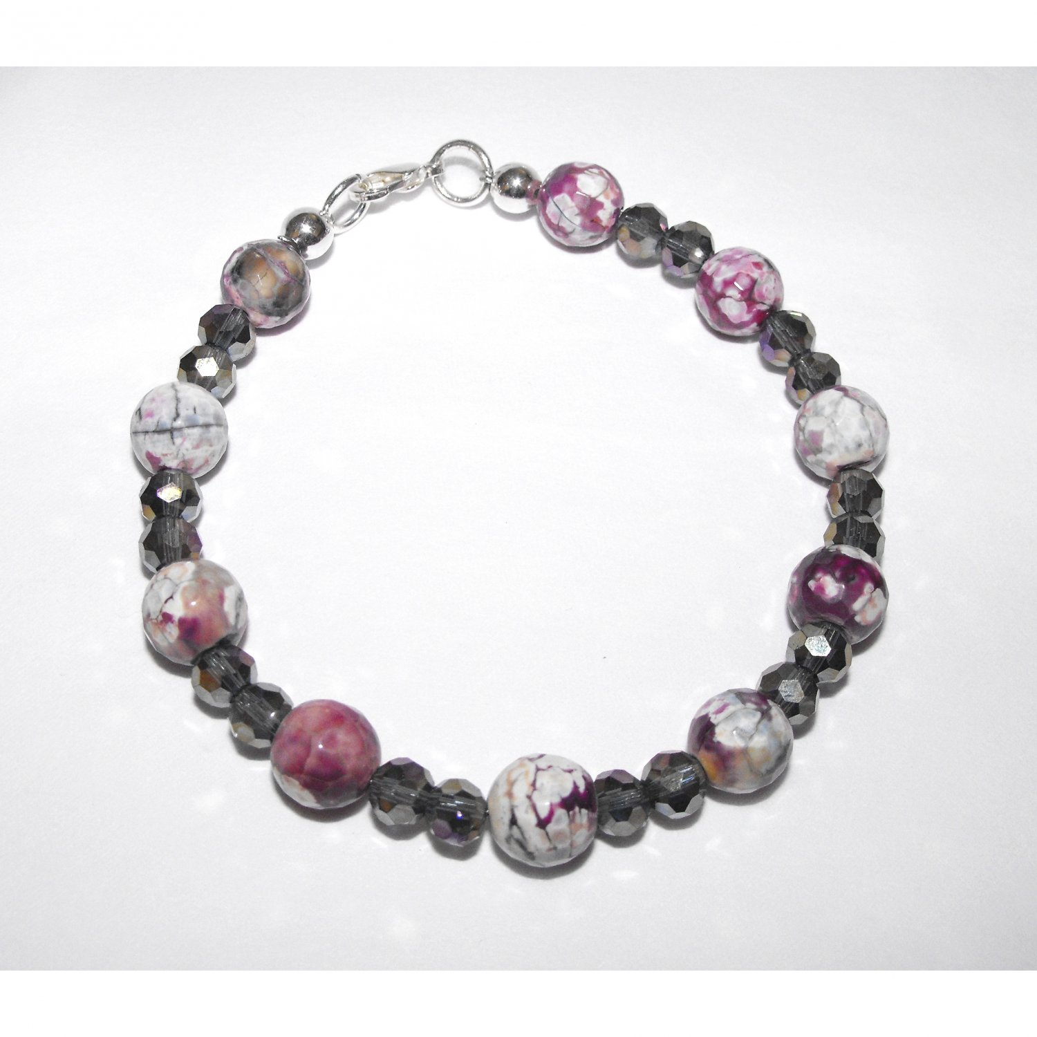 Pink Purple White Faceted Agate and Crystal Bracelet