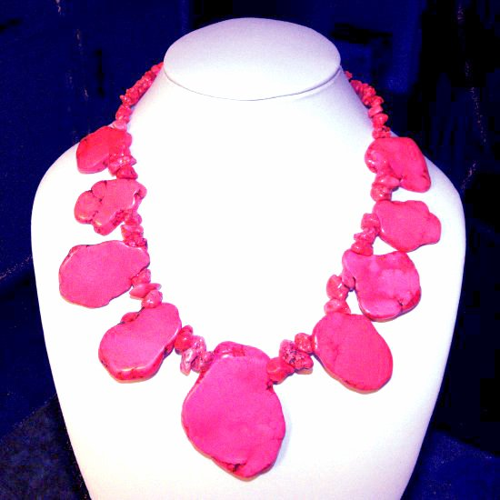 Pink Turquoise Slab Necklace