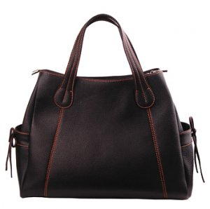Alexandra Jordan Black Leather Pocket Tote