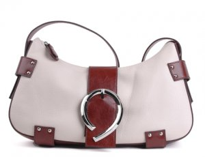 Alexandra Jordan Off-White and Brown Leather Shoulder Bag