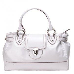 Alexandra Jordan White Leather Handbag with Brown Leather Trim