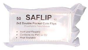 1 PACK 50 SAFLIP DOUBLE POCKET COIN FLIPS 2X2 NO PVC