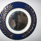 Blue and Gold Mirror Made From Vintage Plate