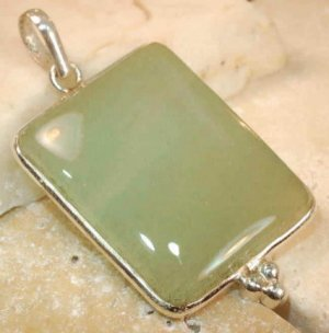 "jade .925 sterling silver pendant 1 3/4"""