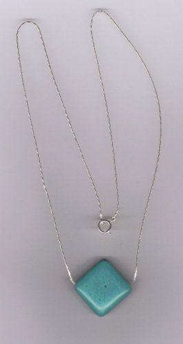 """turquoise pendant with 18"""" .925 sterling silver chain"""