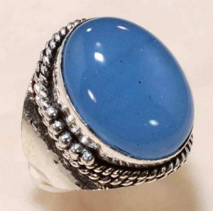 blue chalcedony German silver ring size 7