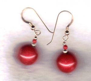 """14 k gold filled red coral dangle earrings 1 1/2"""""""