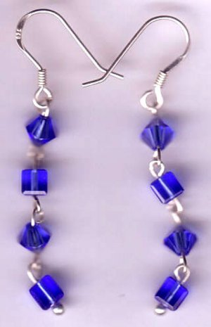 sterling silver blue swarovski crystal dangle earrings